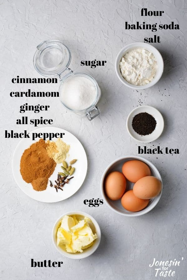 ingredients laid out and labeled on a white background