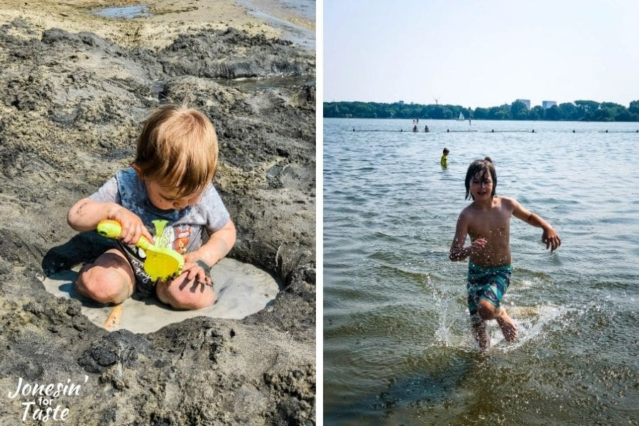 a collage graphic of a baby playing in sand and water on the left and a young boy running through the water on the right