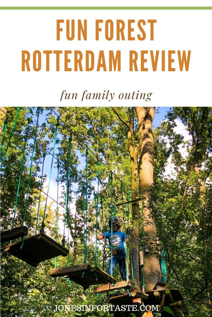 a boy navigates swinging platforms in the trees. A text graphic above the photo reads fun forest Rotterdam review fun family outing