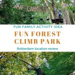 a 2 photo collage of kids climbing in the Fun Forest Climb Park with a text graphic in the center
