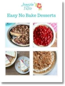 the cover of no bake desserts ebook with a 4 photo collage of recipes included