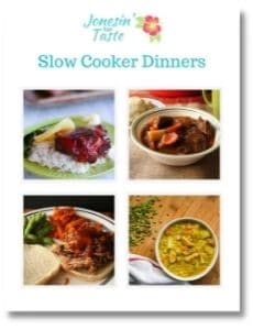 the cover of slow cooker dinners ebook with a 4 photo collage of recipes included