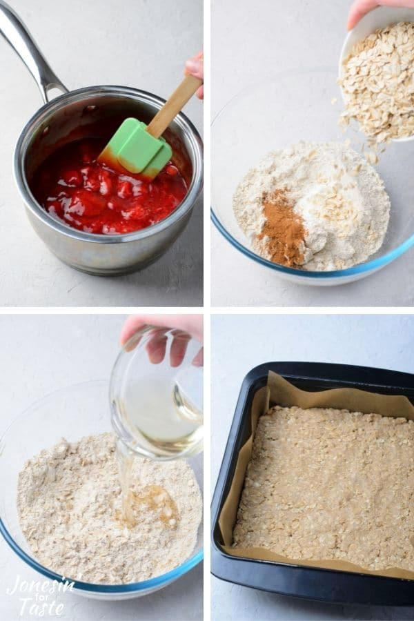 a 4 photo collage showing how to make the crust and strawberry filling