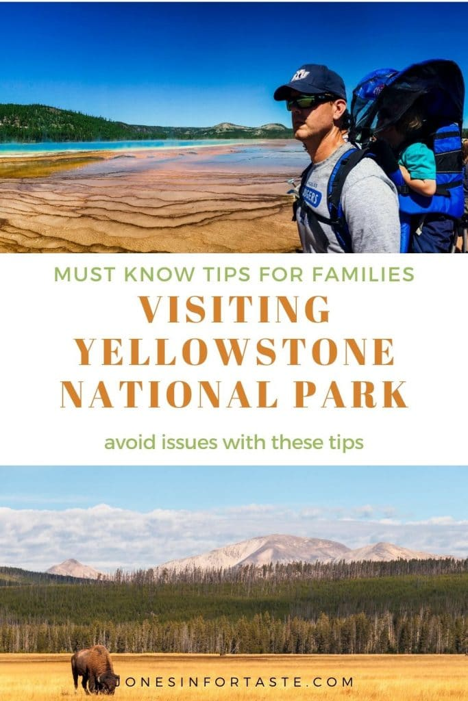a collage of a man in a hat wearing a baby carrier standing in front of the prismatic springs at Yellowstone