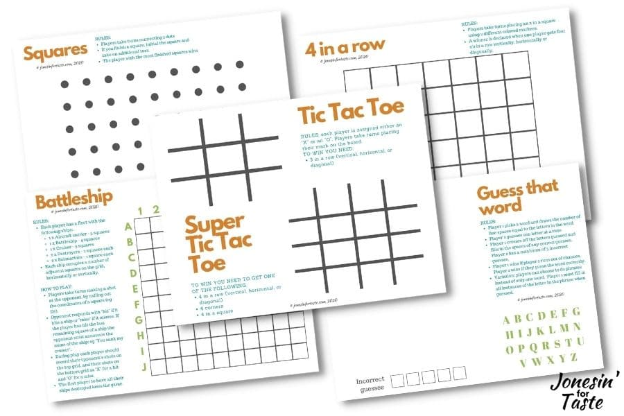 A graphic showing the 5 printable games displayed on a white background