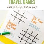 a yellow folder with a tic tac toe printable inside a sheet protector with 2 dry erase markers sitting on the page
