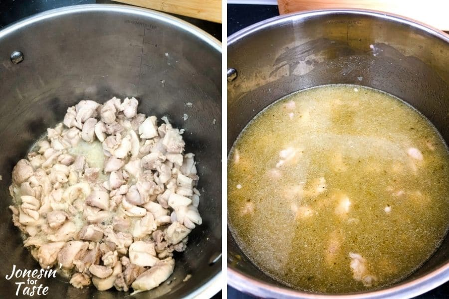 a 2 photo collage of chicken thighs cooking in a pot on the left, and the pot filled with salsa verde and chicken stock on the right