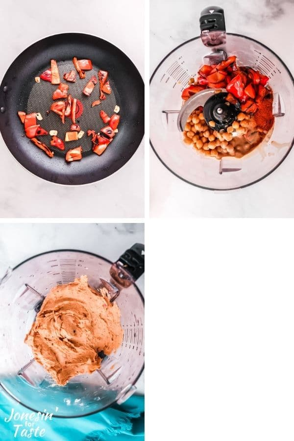 a 3 photo collage showing red peppers sautéing in a pan, ingredients unprocessed in a blender, and processed hummus in the blender