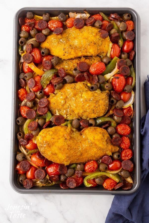 Sheet Pan Adobo Seasoned Chicken with Chorizo and Olives